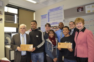 Assemblyman Joseph Lentol and NYS Regent Kathleen Cashin were presented with wodden plaques desgined by WHSAD students and created in in our laser engraver.