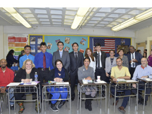 Judges Front Row (L to R): Community Assistant Alain Rowell, Community Assistant Anne Pinto, Community Assistant Delilah Crespo, Deputy Brooklyn Borough President Diana Reyna, Business Manager Rudy Cruz, and Design Teacher Ira Geringer. Student Presenters Back Row (LtoR): Bernardo Reyes, Matthew Sotomayor, Byron Pacheco, Angel Pasan, Joselin Flores, Jorge Ortega, Marjorie Vargas, Arely Velasco, and Daniel Reid. Photo by Jay Wiprovnick
