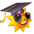 Summer learning and school education concept as a happy three dimensional sun character wearing a graduation hat or mortar cap as a student symbol of academic extracurricular courses in the hot seasonal months isolated on white.